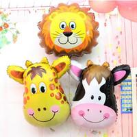 mascotas globos al por mayor-Fiesta de cumpleaños del mono de la vaca de la cebra de la jirafa Globo de la hoja del animal doméstico de la mariposa para los juguetes de los niños, decoración del cumpleaños del banquete de boda