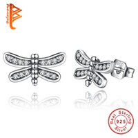 Wholesale Dragonfly Silver - BELAWANG Presents 925 Sterling Silver Petite Dragonfly Stud Earrings Clear CZ Compatible with Jewelry Special Store