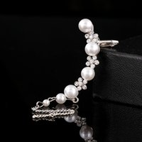 Wholesale Pearl Ear Cuff Chain - 1PCS New Fashion Wedding Earring Jewelry Pave Crystal Flower Pearls Beaded Chain Tassels Ear Cuff Clip Earrings For Women Gifts