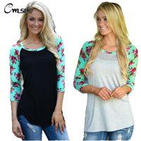 Wholesale Women Latest Shirts - Wholesale-Fashion Latest TShirt Women Long Raglan Sleeve Stripe Floral Patchwork Maxi Size S-3XL t-shirt Female poleras de mujer QA1413