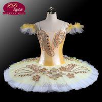 Wholesale latest women costume for sale - Latest Sugar Plum Fairy Gold Professional Ballet Tutu Girl s Pancake Princess Florina Classical Ballet Stage Costumes LD0073