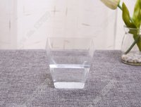 Atacado-20 copos de tiro de plástico - Clear Party Wedding Pot Jelly Vasos de sobremesa