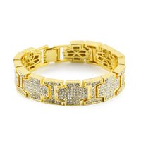 Wholesale Hip Nightclub - Ful Diamond Hip Hop Link Chains For Men 2017 New Pop Hip-hop Bracelets Gold Plated Luxury Nightclub Jewelry