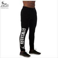Wholesale Wholesale Mens Cotton Pants - Wholesale-Print Letter Shark Brand Men Casual Pants Mens Joggers Cotton Trousers Fitness Professional Bodybuilding Sweatpants