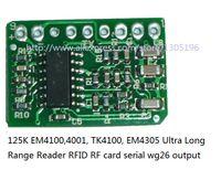 Wholesale 125k Rfid - Wholesale- 125K Long Range Reader module EM4100,4001, TK4100, EM4305 Ultra RFID RF card serial wg26 output module