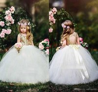 Wholesale Princess Line Dresse - Gold Sequins Flower Girls Dresses For Country Wedding Hollow Back With Sashes Puffy Tulle Girls Princess Birthday First Communion Dresse
