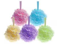 Wholesale luffa shower resale online - Colorful Bath Pouf Large Mesh Lace Trim Shower Sponge Exfoliating Cleanse Soothe Skin Loofah Luffa Body Puff Mesh Body Scrubber Bath Ball