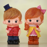 Wholesale Craft Dolls Wholesale - 10PCS Valentine Gifts Sweet Couple Dolls Vinyl Resin Cartoon Crafts for Desk and Home Decoration