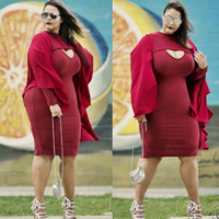 Wholesale Scoop Neck Long - New Plus Size Bodycon Dresses Casual Solid color Scoop Neck Long sleeve F2P505