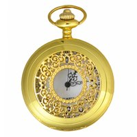 Retro Type SOKI Gold Flowers Design Relógios de bolso Mens Analog Time Quartz Luxury Elegant Pocket Watch