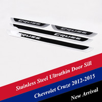 Wholesale Stainless Door Guard - Stainless Steel Ultrathin Door Sill Scuff Plate Guard Sills for Chevrolet Cruze 2012-2015 Mirror Surfaces Door Sills Protector AT13023