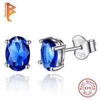 brincos de safira azul esterlina venda por atacado-BELAWANG Atacado Casamento CZ Diamante Sapphire Jóias Brincos 925 Sterling Silver Azul Cristal Austríaco Elegante Brinco Para As Mulheres