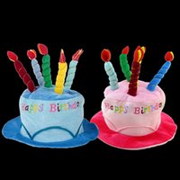 Wholesale Adult Cake Costume - Wholesale-Adults Birthday Cake Candle Style Soft Birthday Party Hat Photograph Decoration Costume Accessories Items Supplies