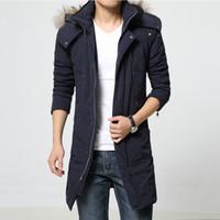 Wholesale Winter Fashion Mens Coat Navy - Wholesale- Quality L-6XL navy green winter jacket men Long parka men coat parka homme down jacket men warm mens jackets and coats 2016