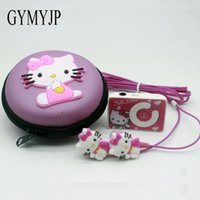 Wholesale Hot New Headphones - 2017 new Hot cartoon hello Kitty mini music mp3 player with headphones and packaging birthday present Gift girl