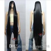 Wholesale Long Straight Black Cosplay Wig - Woman headdress hair Cos black long straight cosplay Heat-Resistant WIG 150cm Cosplay Hair Peruca Pelucas