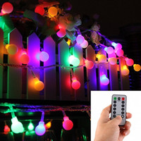 Wholesale Led Waterproof Globe - 16 Feet 50 LED Outdoor Globe String Lights 8 Modes Battery Operated Frosted White Ball Fairy Light dimmable Ip65 Waterproof