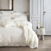Wholesale Lace Quilt Cover - Wholesale- 4 7pcs Wedding sheets sets linens white lace 100% cotton bedspread Queen king Double size quilt cover set bedding sets