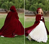 Wholesale Long Black Velvet Cape - 100% Real Picture Burgundy Long Velvet Christmas Hooded Cloak Bridal Cloaks Capes Winter Halloween Jacket Wedding Bridesmaid Wraps
