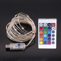Wholesale Color Changing Led Light String - 16ft LED USB String Lights Multi Color Changing Copper Wire String Lights with Remote Control Waterproof Lights for Christmas Patio Garden