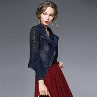 Wholesale Oblique Zipper Long Dress - 2016 winter new style Europe and America women dress fashion denim jacket oblique zipper embroidery long sleeved jacket