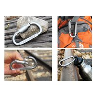 Wholesale Wholesale Keychain Rings Clips - 2017 Wholesale Outdoor 8cm D-ring Aluminum Fast Hanging Carabiner Key Clip Hook Keychain with Lock Key
