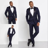 New Arrival Dark Navy Men Suits Slim Fit One Button Groom Wedding Tuxedos Cheap Two Pieces Custom Suit (Jacket + Pants + Bow Tie)
