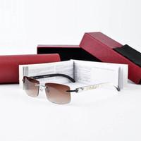 Wholesale Rimless Prescription Glasses - Rimless Buffalo Horn Sunglasses for Men Luxury Retro Vintage Glasses Frames Prescription Glasses Brand Sun Glasses with Box