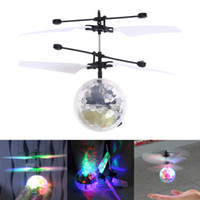 Wholesale Remote Control Flying Ufo - Toys RC Helicopter Ball Flying Induction LED Noctilucent Ball Quadcopter Drone Sensor Suspension Remote Control Aircraft UFO Toys for Kids