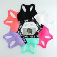 Wholesale Push Up Bra Girls - Pink Letter Sports Bras Victoria Running Yoga Shirts VS Pink Gym Bras Push Up Fitness Vest Elastic Crop Tops Adjustable Sexy Underwear sale