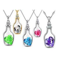 Wholesale Silver Diamond Heart Choker Necklace - Austrian Crystal Wishing Bottle Pendant Necklace Love diamond Heart Pendant Necklace 925 silver chain current bottle necklace Choker Jewelry