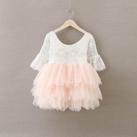 Wholesale Three Quater Length Lace Sleeves - Lace Girls Dress Three Quater Sleeve Chiffon Children Tutu Dress Pearl Flower Baby Girls Party Outfit Kids Dresses 2-7Y Sales