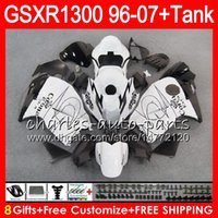 Wholesale Hayabusa Corona Fairing - 8Gifts 23Colors For SUZUKI Hayabusa GSXR1300 96 07 2002 2003 2004 CORONA white 15NO45 GSX R1300 GSXR-1300 GSXR 1300 2005 2006 2007 Fairing