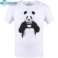 Wholesale Funny Heart Cartoons - All You Need IS Love Cool Panda heart Print Mens T-Shirt Funny Animal Design Tops Hipster Men Cartoon Tee Shirts Plus Size 6XL