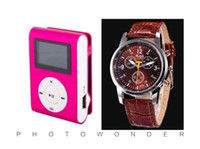 Wholesale Only Mp3 Player - Wholesale- Wholesale 2 pcs (1 set) Quality Clip ONLY Sports MP3 Watch Music Player with Screen, FM radio, TF card Slot