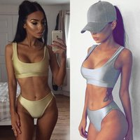 Polyester sports bra style swimsuit - 2017 new hot style sport bras Europe and America Bandage bikini sexy summer sweatsuit pure two sets women swimsuit