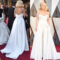 Wholesale Celebrity Oscar Gowns - Unique 88th Oscar Lady Gaga Red Carpet Dresses 2017 White Pants Jumpsuit Outfits Stain Evening Celebrity Gowns