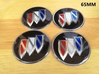 Wholesale Decals For Wheels Center Caps - 4Pcs Black Car Auto Domed Emblem Badge Wheel Center Hub Cap Decals Stickers fit For BUICK 56MM   65MM