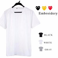 Wholesale Solid Gold Heart - Wholesale-Japan popular style women men's t-shirt embroidery red heart gold heart solid shirt tee baisc top with label