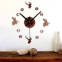 Wholesale Time Design Diy Clock - Retro Wooden DIY Wall Clock Modern Design Classic Reversal Time 3D deer head Stickers Home Decor Art wall clock different shape Imitation