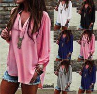 Wholesale Loose Chiffon Blouse V Neck - Plus Size Womens Blouse Chiffon Long Sleeve Autumn T Shirt Loose Casual Tops 5 Colors