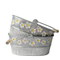 Wholesale Hanging Box Planters - Metal Planter pot garden Oval Sharp tin box Iron pots flower pot Hanging Planter with wood handle vintage flower