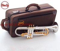 Wholesale B Flat Trumpet - wholesale Taiwan Bach Original Silver-plated body gold key LT180S-72 B flat professional trumpet bell Top musical instruments Brass horn