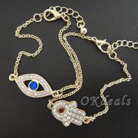 Wholesale Evil Eye Amulets - Wholesale-1PC Fashion Women ladies Rhinestone Evil Eye Amulet Hamsa Fatima Gold Plated Party Vaction Bracelet Gift 2016