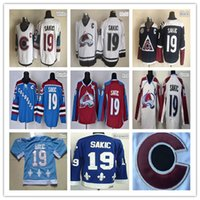 Wholesale Cheap Camo Uniforms - 100% Polyester Mens Ice Hockey Jerseys #19 Joe Sakic Colorado Team Red Camo White Third Blue Stitching Hockey Uniform Cheap