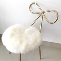 esteras de piel de oveja al por mayor-Cojín redondo de piel de oveja 100% real, alfombra pequeña de Sheepfur 35 * 35 cm Estera de asiento de piel blanca natural genuina, silla de piel