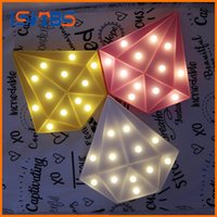 Wholesale Diamond Heart Wedding Decorations - Colorful Diamond Shaped LED Night Light 4 Colors Children Cute Marquee Sign Night Lamp Bedroom Decoration Light