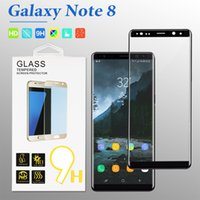 Wholesale Screen Protector Film 3d - For Samsung Note 8 Screen Protector 3D Curved Tempered Glass For Samsung S8 9H Hardness Film Curved Whole Screen with Retail Package