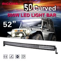 Wholesale 52 Inch Led Light Bar - 5D 52 Inch 500W Curved LED Light Bar For Off Road Trucks Tractor 4WD SUV ATV CREE Chip 12V 24V Combo Work Driving Bar Lights