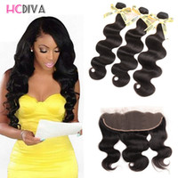 Wholesale Lace Front Closures Wholesale - brazilian virgin hair bundles with closures 3 bundles with closure Lace Frontal body wave hair Waves straight hair lace fronts